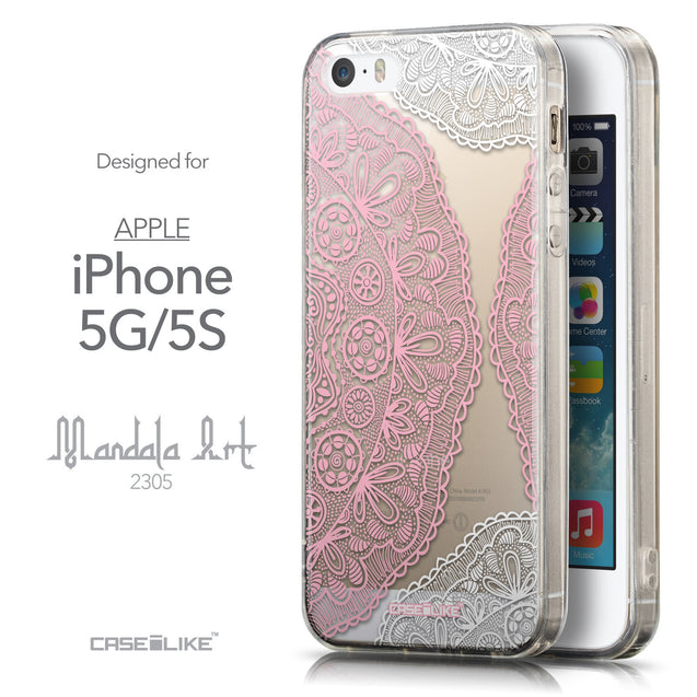 Front & Side View - CASEiLIKE Apple iPhone 5GS back cover Mandala Art 2305