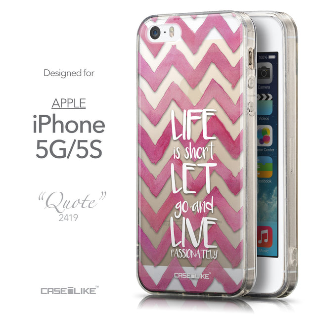 Front & Side View - CASEiLIKE Apple iPhone 5GS back cover Quote 2419