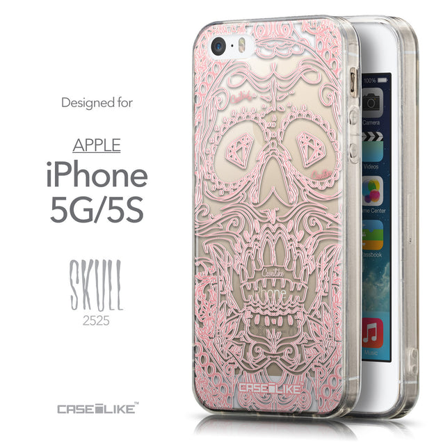 Front & Side View - CASEiLIKE Apple iPhone 5GS back cover Art of Skull 2525