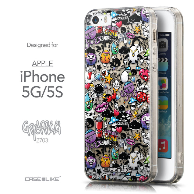 Front & Side View - CASEiLIKE Apple iPhone 5GS back cover Graffiti 2703