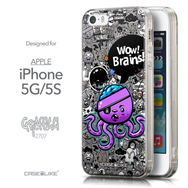 Front & Side View - CASEiLIKE Apple iPhone 5GS back cover Graffiti 2707