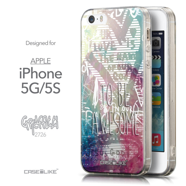 Front & Side View - CASEiLIKE Apple iPhone 5GS back cover Graffiti 2726