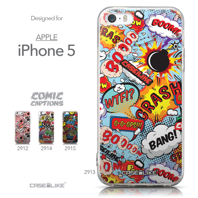 Collection - CASEiLIKE Apple iPhone 5GS back cover Comic Captions Blue 2913