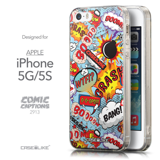 Front & Side View - CASEiLIKE Apple iPhone 5GS back cover Comic Captions Blue 2913