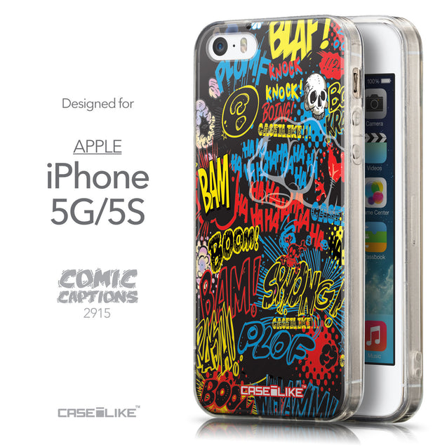Front & Side View - CASEiLIKE Apple iPhone 5GS back cover Comic Captions Black 2915