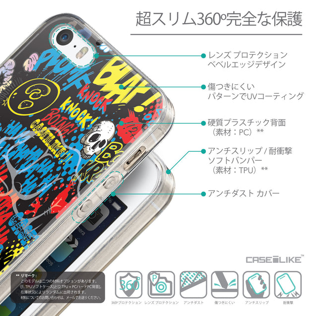 Details in Japanese - CASEiLIKE Apple iPhone 5GS back cover Comic Captions Black 2915