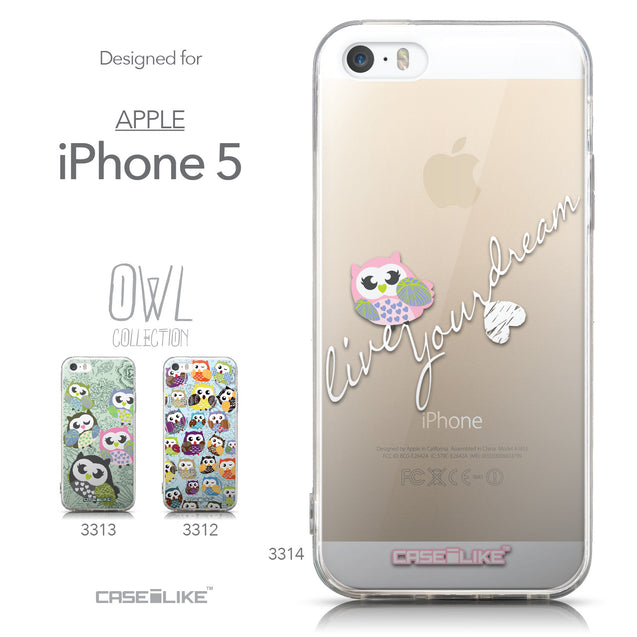 Collection - CASEiLIKE Apple iPhone 5GS back cover Owl Graphic Design 3314