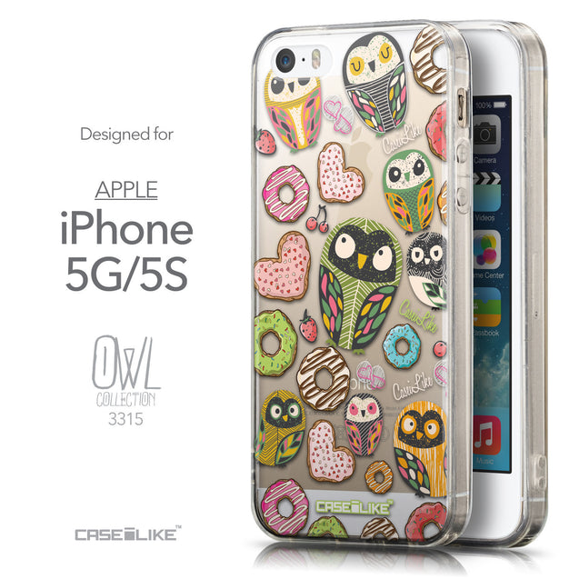 Front & Side View - CASEiLIKE Apple iPhone 5GS back cover Owl Graphic Design 3315