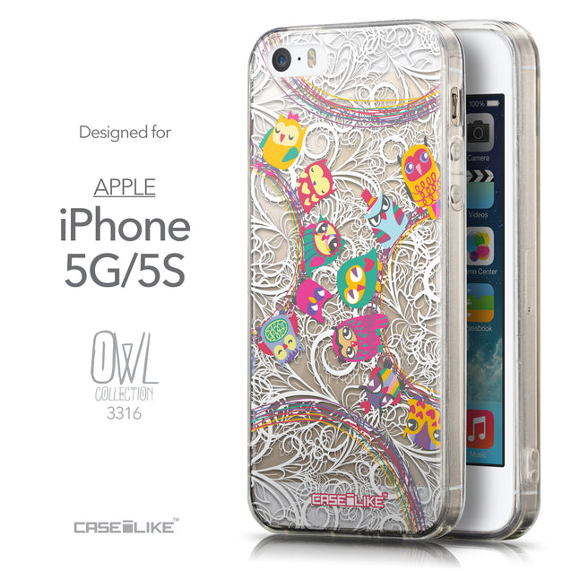 Front & Side View - CASEiLIKE Apple iPhone 5GS back cover Owl Graphic Design 3316