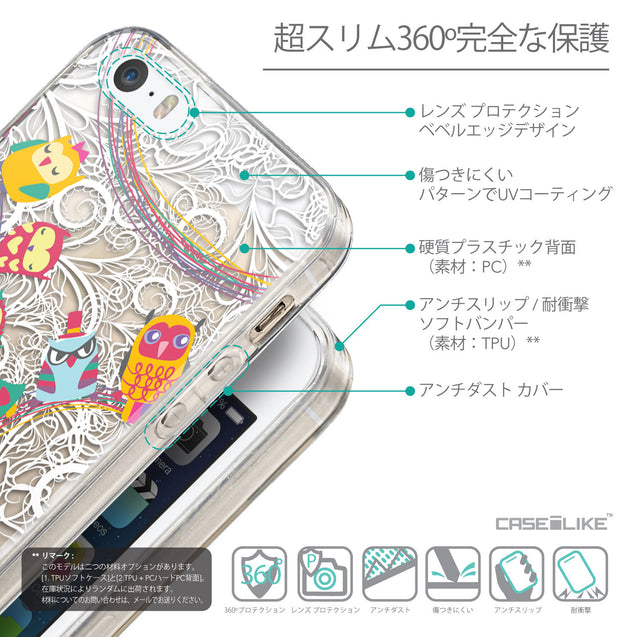 Details in Japanese - CASEiLIKE Apple iPhone 5GS back cover Owl Graphic Design 3316