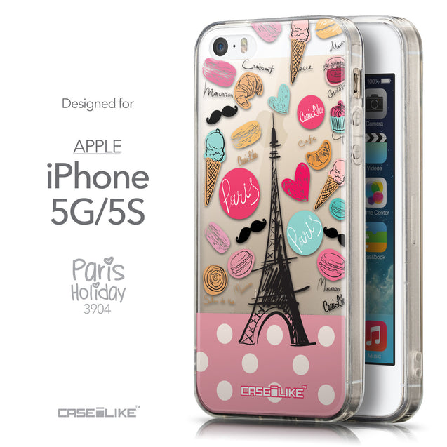 Front & Side View - CASEiLIKE Apple iPhone 5GS back cover Paris Holiday 3904