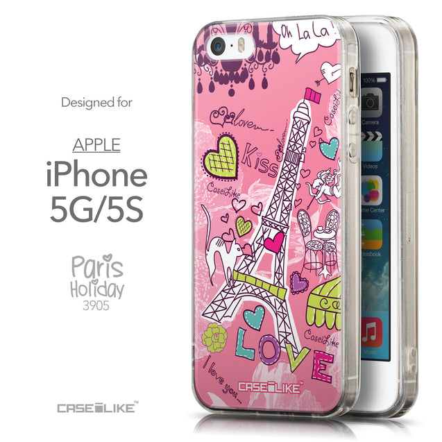 Front & Side View - CASEiLIKE Apple iPhone 5GS back cover Paris Holiday 3905