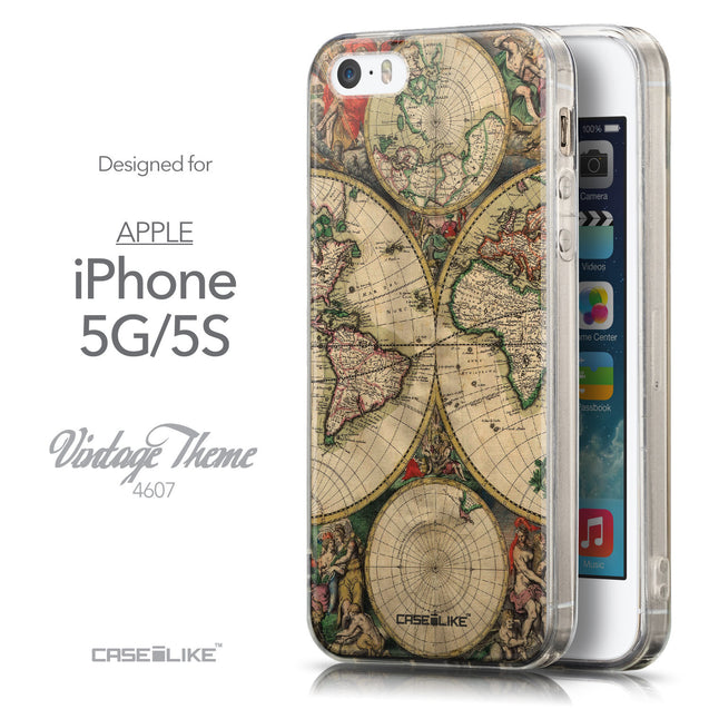 Front & Side View - CASEiLIKE Apple iPhone 5GS back cover World Map Vintage 4607