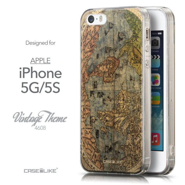 Front & Side View - CASEiLIKE Apple iPhone 5GS back cover World Map Vintage 4608