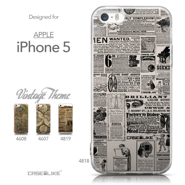 Collection - CASEiLIKE Apple iPhone 5GS back cover Vintage Newspaper Advertising 4818