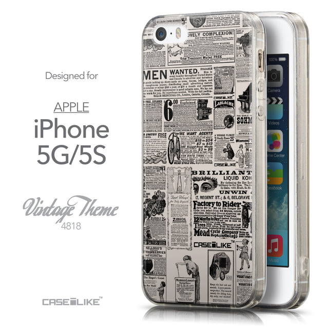 Front & Side View - CASEiLIKE Apple iPhone 5GS back cover Vintage Newspaper Advertising 4818