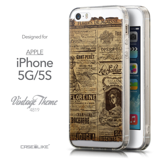 Front & Side View - CASEiLIKE Apple iPhone 5GS back cover Vintage Newspaper Advertising 4819