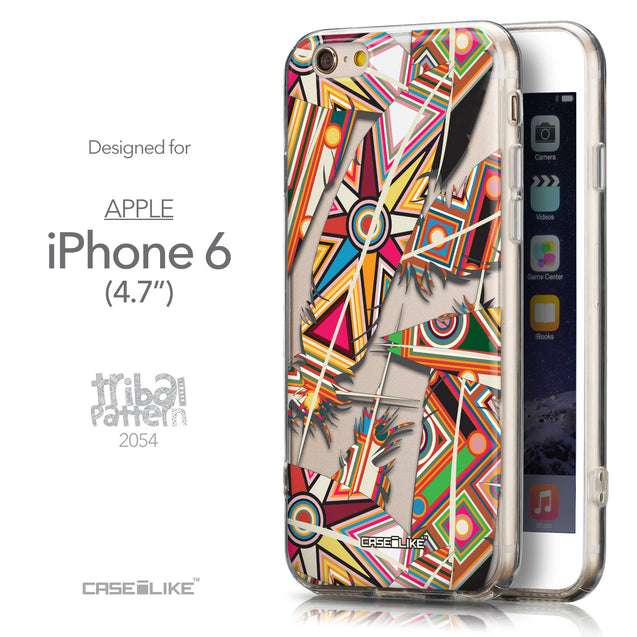 Front & Side View - CASEiLIKE Apple iPhone 6 back cover Indian 2054 Tribal Theme Pattern