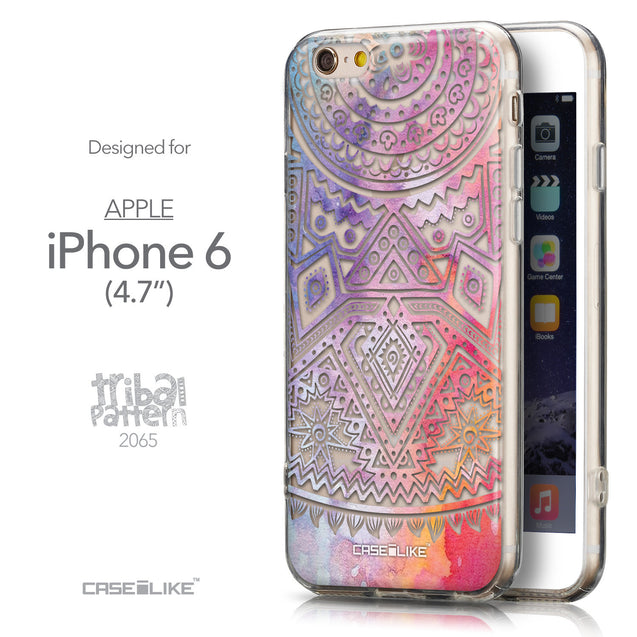 Front & Side View - CASEiLIKE Apple iPhone 6 back cover Indian Line Art 2065