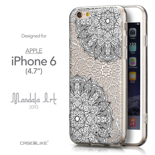 Front & Side View - CASEiLIKE Apple iPhone 6 back cover Mandala Art 2093