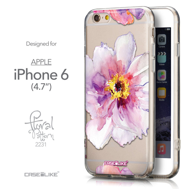 Front & Side View - CASEiLIKE Apple iPhone 6 back cover Watercolor Floral 2231