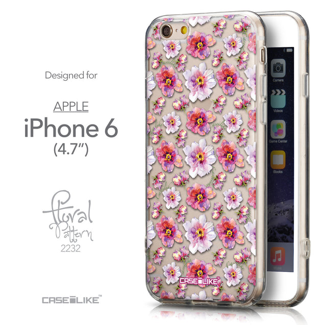 Front & Side View - CASEiLIKE Apple iPhone 6 back cover Watercolor Floral 2232