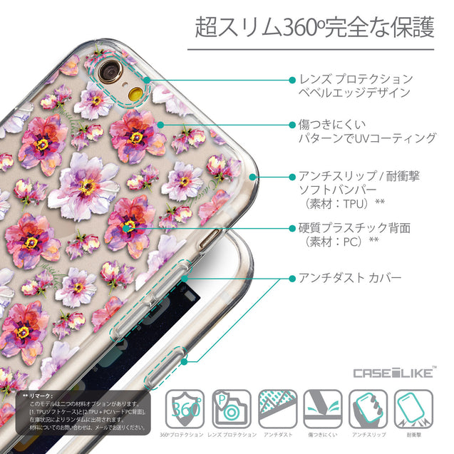 Details in Japanese - CASEiLIKE Apple iPhone 6 back cover Watercolor Floral 2232