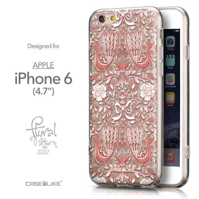 Front & Side View - CASEiLIKE Apple iPhone 6 back cover Roses Ornamental Skulls Peacocks 2237