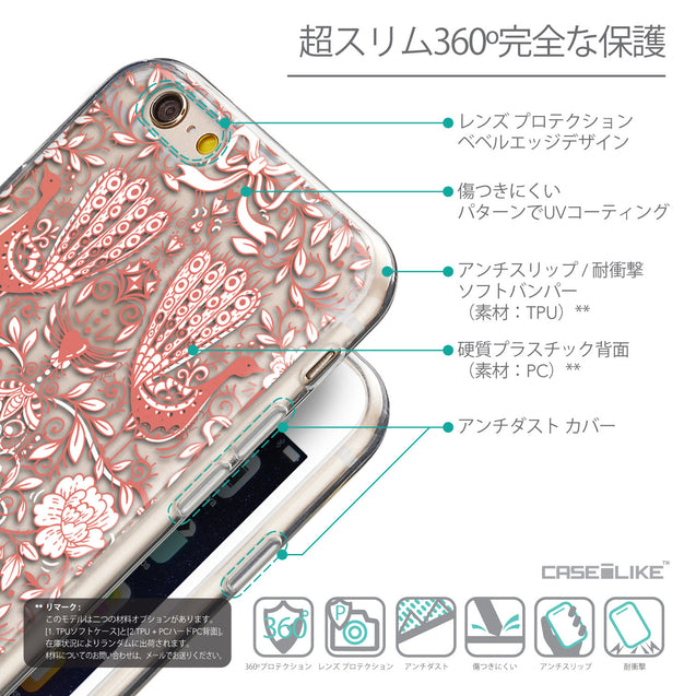 Details in Japanese - CASEiLIKE Apple iPhone 6 back cover Roses Ornamental Skulls Peacocks 2237
