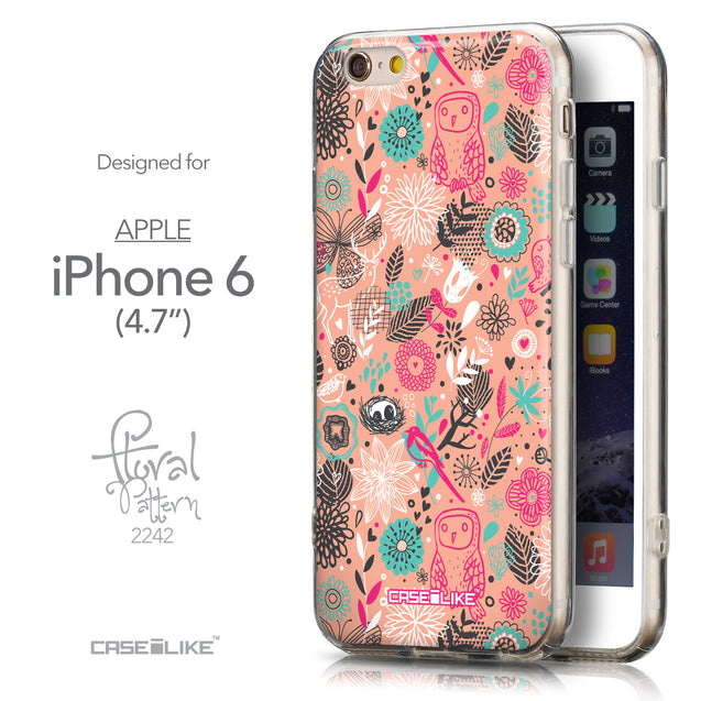 Front & Side View - CASEiLIKE Apple iPhone 6 back cover Spring Forest Pink 2242