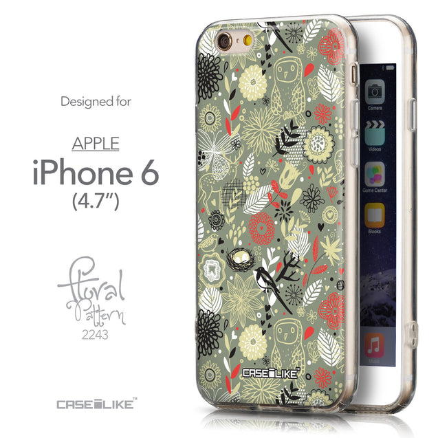 Front & Side View - CASEiLIKE Apple iPhone 6 back cover Spring Forest Gray 2243