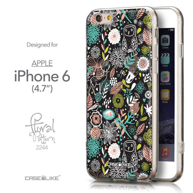Front & Side View - CASEiLIKE Apple iPhone 6 back cover Spring Forest Black 2244