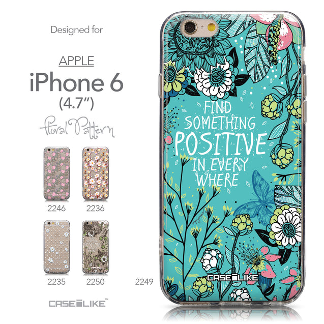 Collection - CASEiLIKE Apple iPhone 6 back cover Blooming Flowers Turquoise 2249