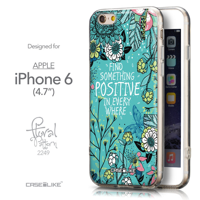 Front & Side View - CASEiLIKE Apple iPhone 6 back cover Blooming Flowers Turquoise 2249