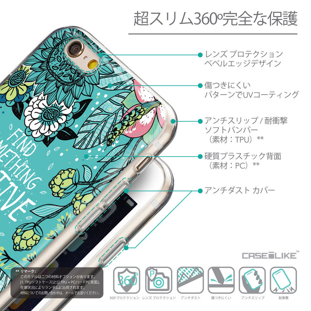 Details in Japanese - CASEiLIKE Apple iPhone 6 back cover Blooming Flowers Turquoise 2249