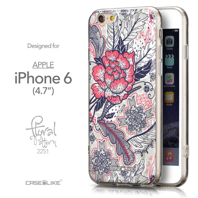 Front & Side View - CASEiLIKE Apple iPhone 6 back cover Vintage Roses and Feathers Beige 2251