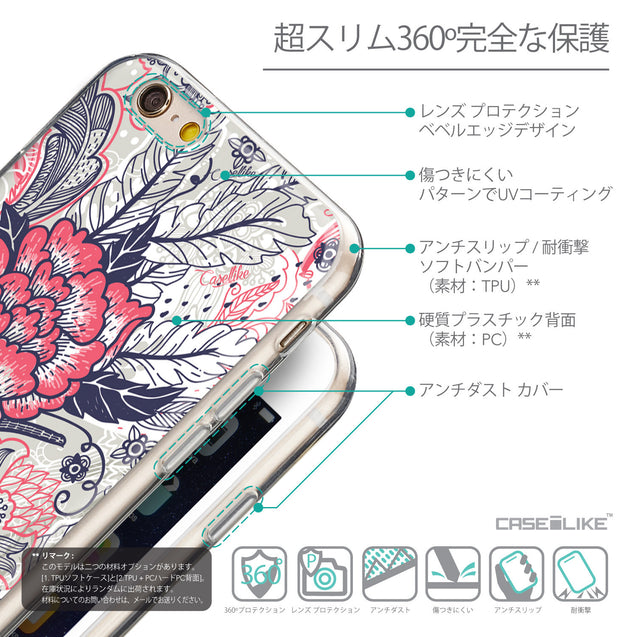 Details in Japanese - CASEiLIKE Apple iPhone 6 back cover Vintage Roses and Feathers Beige 2251
