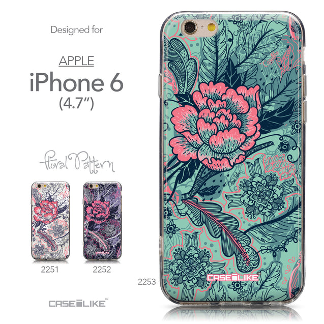 Collection - CASEiLIKE Apple iPhone 6 back cover Vintage Roses and Feathers Turquoise 2253