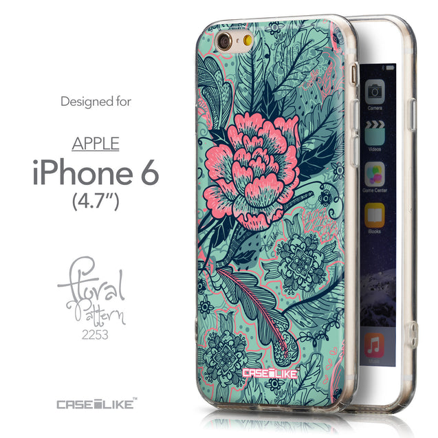 Front & Side View - CASEiLIKE Apple iPhone 6 back cover Vintage Roses and Feathers Turquoise 2253