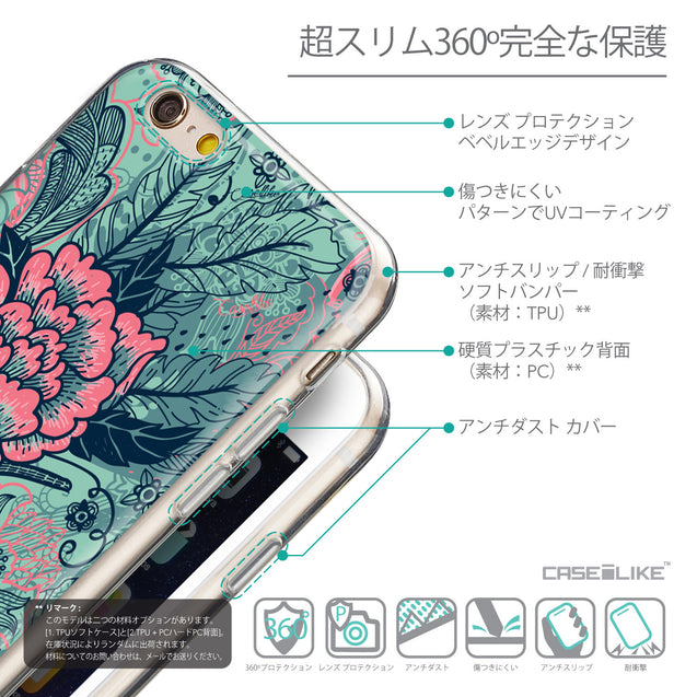 Details in Japanese - CASEiLIKE Apple iPhone 6 back cover Vintage Roses and Feathers Turquoise 2253