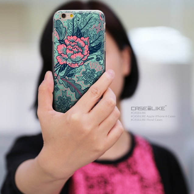 Share - CASEiLIKE Apple iPhone 6 back cover Vintage Roses and Feathers Turquoise 2253