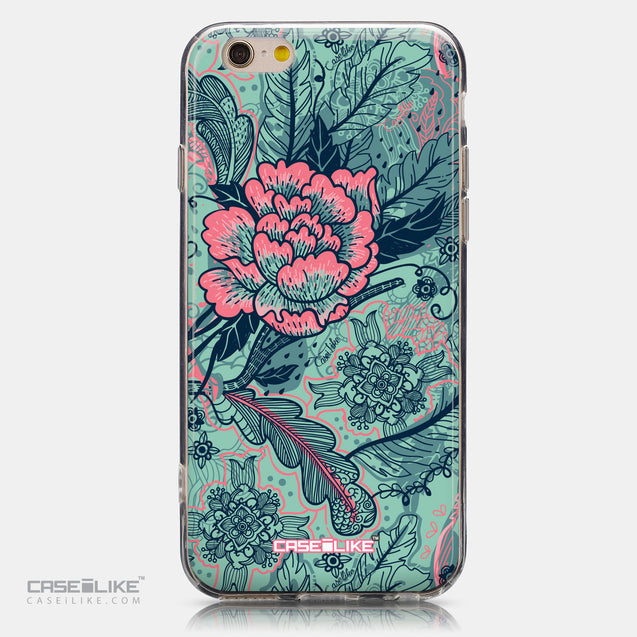 CASEiLIKE Apple iPhone 6 back cover Vintage Roses and Feathers Turquoise 2253