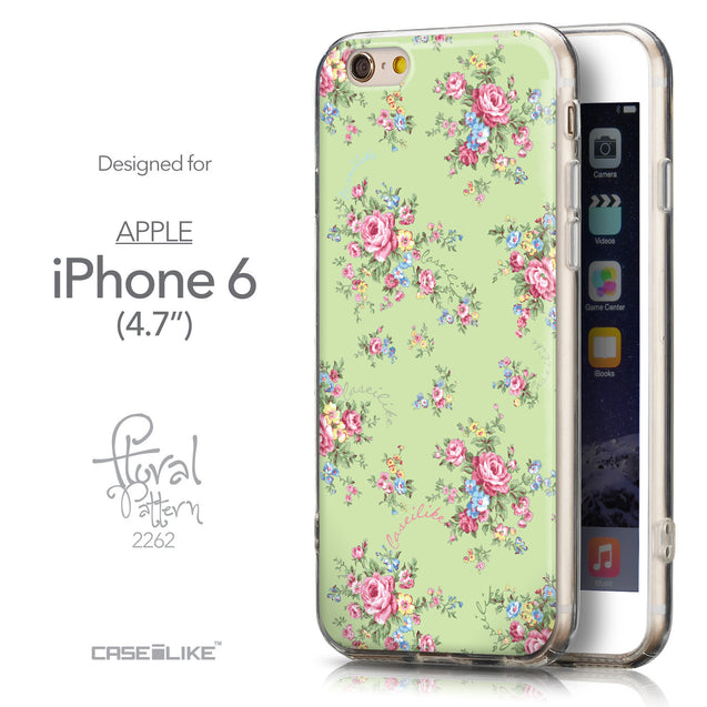 Front & Side View - CASEiLIKE Apple iPhone 6 back cover Floral Rose Classic 2262