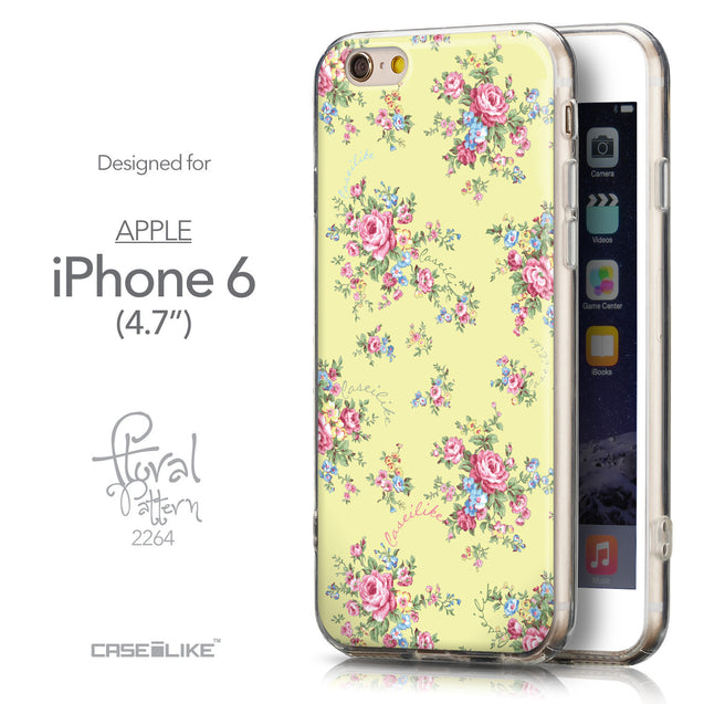 Front & Side View - CASEiLIKE Apple iPhone 6 back cover Floral Rose Classic 2264