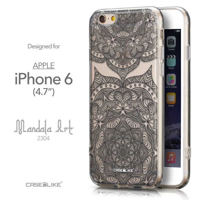 Front & Side View - CASEiLIKE Apple iPhone 6 back cover Mandala Art 2304