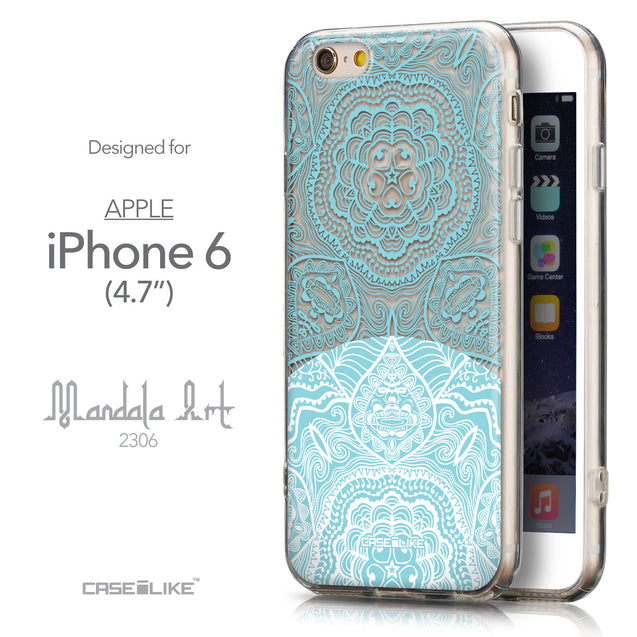 Front & Side View - CASEiLIKE Apple iPhone 6 back cover Mandala Art 2306