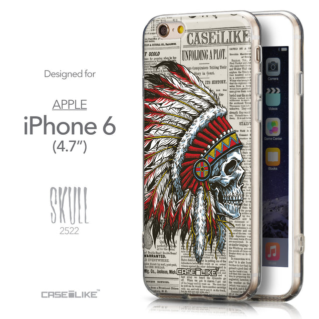 Front & Side View - CASEiLIKE Apple iPhone 6 back cover Art of Skull 2522