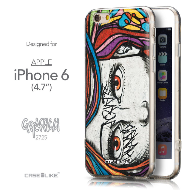 Front & Side View - CASEiLIKE Apple iPhone 6 back cover Graffiti Girl 2725