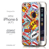 Front & Side View - CASEiLIKE Apple iPhone 6 back cover Comic Captions Blue 2913