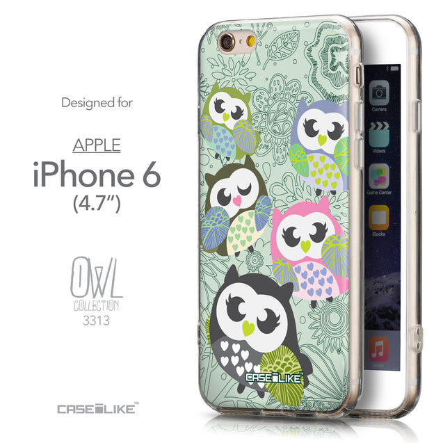 Front & Side View - CASEiLIKE Apple iPhone 6 back cover Owl Graphic Design 3313